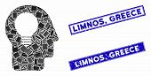 Mosaic Head Idea Pictogram And Rectangle Limnos, Greece Watermarks. Flat Vector Head Idea Mosaic Pic poster