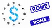 Mosaic Sparkle Dollar Pictogram And Rectangle Rome Stamps. Flat Vector Sparkle Dollar Mosaic Pictogr poster