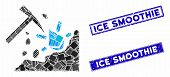 Mosaic Ethereum Mining Hammer Pictogram And Rectangle Ice Smoothie Seal Stamps. Flat Vector Ethereum poster