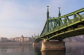 The Liberty Bridge In Budapest In Hungary, It Connects Buda And Pest Cities  Across The  Danube Rive poster