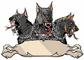 Cerberus Supernatural Hound Of Hell. Mythological Three Headed Dog The Guard Of Entrance To Hell. Ho poster
