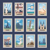 Travel Postage Stamps. Vintage Stamp With National Landmarks, Retro Stamping Postmark World Attracti poster