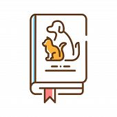 Pets Book Color Line Icon. Animal Guide Book. Learning How To Behave With Pets At Home. Training Pet poster