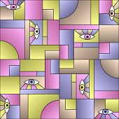 Modular Pattern With Eyes In Geometric Shapes Grid 80s And 90s Vintage Fashion Fabric Print. Patches poster