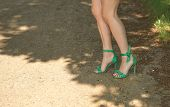 Graceful Female Legs In Retro Sandals On Heels In The Shade Of Sunlight. Graceful Bare Female Legs D poster