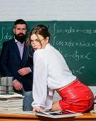 Sexy And Genius. Genius Look Of Sensual Teacher. Genius Woman In Glasses. Bearded Man At Chalkboard. poster