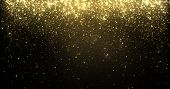 Gold glitter particles falling, golden sparkling shine light background for Christmas holiday. Magic poster