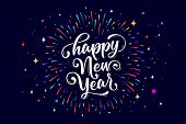 Happy New Year. Lettering Text For Happy New Year Or Merry Christmas. Greeting Card, Poster, Banner  poster