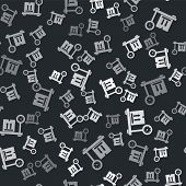 Grey Scale With Cardboard Box Icon Isolated Seamless Pattern On Black Background. Logistic And Deliv poster
