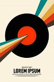 Music Poster Design Template Background With Phonograph Record And Retro Stripe Line. Graphic Design poster