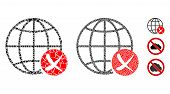 Stop Global Web Icon Mosaic Of Bumpy Items In Various Sizes And Color Tints, Based On Stop Global We poster