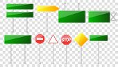 Set Of Road Signs Isolated On Transparent Background.blank Street Traffic And Road Signs Vector Set  poster