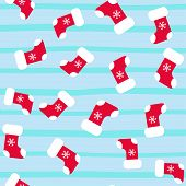 Seamless Pattern With Trendy Christmas Socks, Great Design For Any Purposes. Season Concept. Winter  poster