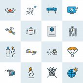 Airport Icons Colored Line Set With Toilets, Airport Security, Parachute And Other Worldwide Element poster