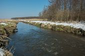 Water Current On The Uherka River In Eastern Poland - View In Winter Day poster