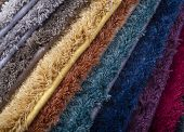 Types And Samples Of Carpets In Different Colors. Carpets For Rooms, Apartments And Houses poster