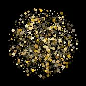 Geometric Gold Square Confetti Sparkles Falling On Black. Glittering New Year Vector Sequins Backgro poster