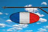 France Flag On A Signboard. Oval Sign In Colors Of Flag France Hanging On A Metal Forged Design. Tem poster