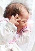 stock photo of newborn baby girl  - Portrait of a newborn baby girl - JPG