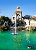 Barcelona ciudadela park lake fountain with golden quadriga of Aurora