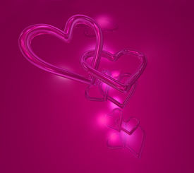 stock photo of valentine heart  - two valentine hearts sticked together - JPG