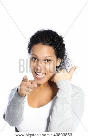 Vivacious Woman Pointing At The Camera