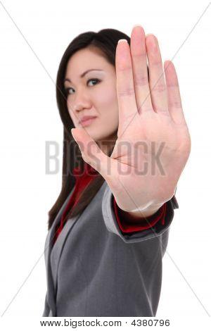 Busienss Woman Stop Gesture