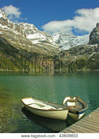 Boats on Lake O'hara Yoho National Park Canada