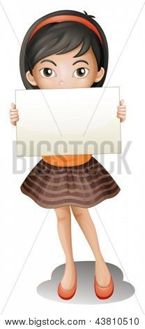 Illustration of girl holding an empty piece of paper on a white background