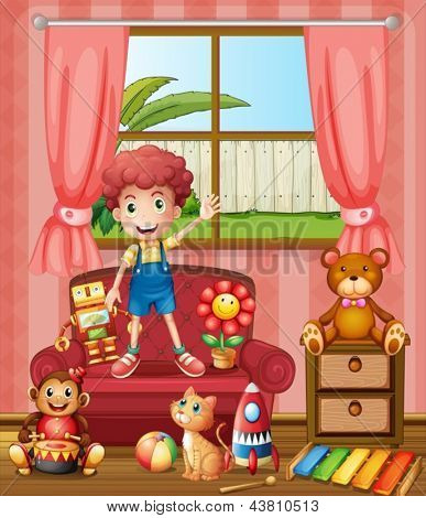 Illustration of a boy with his cat and toys