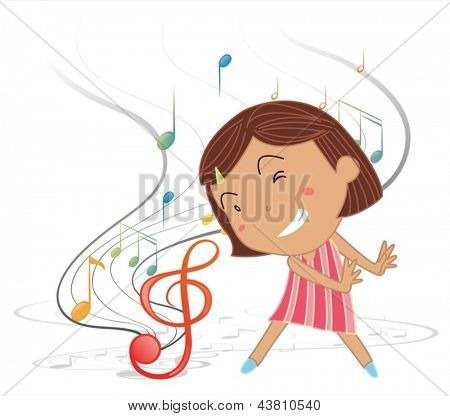 Illustration of a little girl dancing with musical notes on a white background