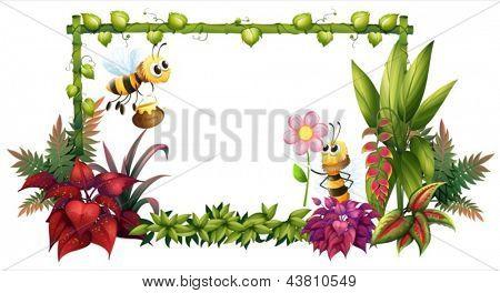 Abbildung der Bienen mit Blumen auf weißem Hintergrund