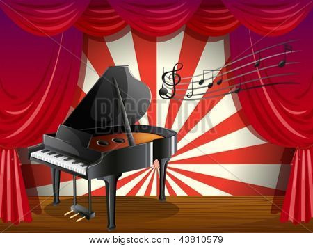 Illustration of a piano at the stage with musical notes