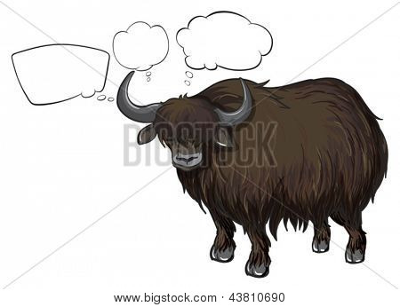 Illustration of a bison with empty callouts on a white background