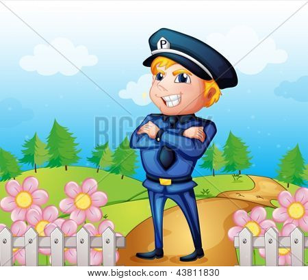 Illustration of a policeman standing in the garden