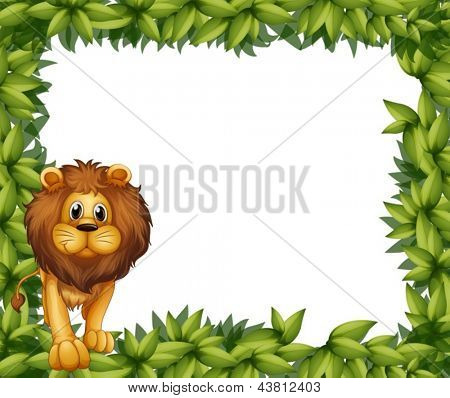 Illustration of a lion in front of an empty leafy frame