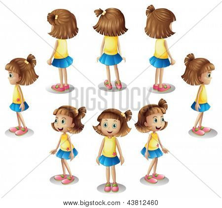 Illustration of a girl forming a circle on a white background