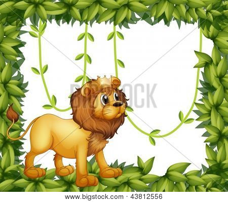 Illustration of a king lion in a leafy frame