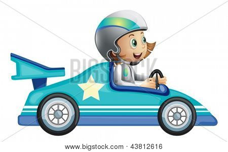 Illustration of a girl in a car racing competition on a white background