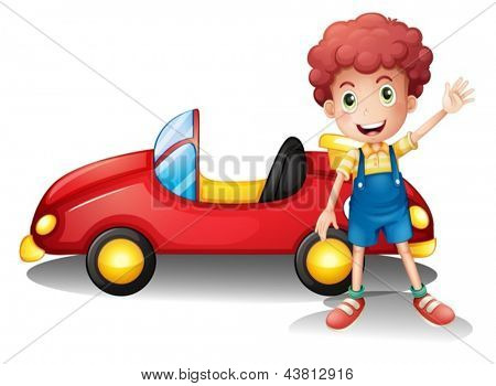 Illustration of a young boy in front of a red car on a white background