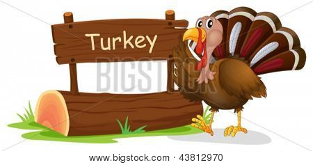 Illustration of a wooden signage with a turkey on a white background