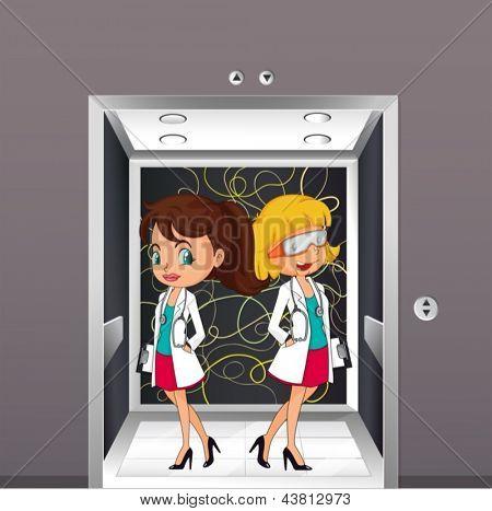 Abbildung der Ärzte am Aufzug