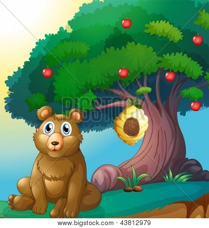 Illustration of a bear in front of a big apple tree with a beehive