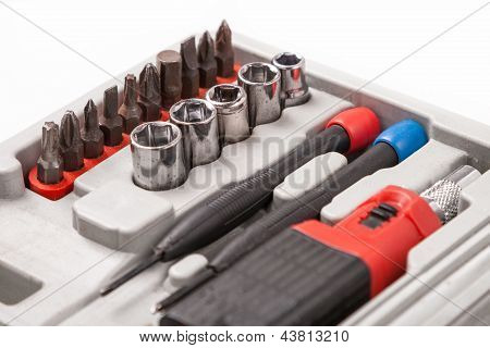 Open Toolbox With Screwdriver, Heads And Bit