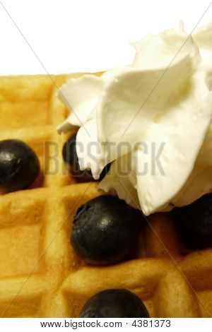 Whipped Cream Waffles Blueberrys
