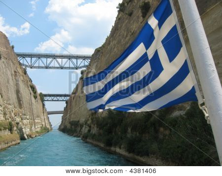 Greek Flag And Corinth Canal
