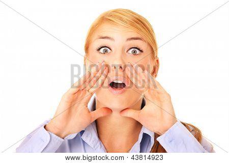 Ein Bild von einer jungen schreienden Frau lächelnd over white background