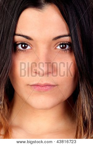 Portrait of attractive girl with brown eyes