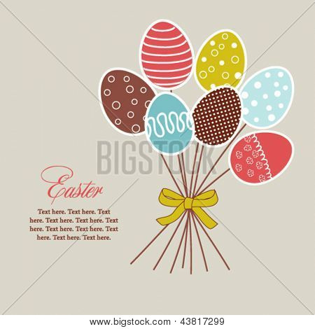 Easter floral design with eggs, holiday card with bouquet of eggs
