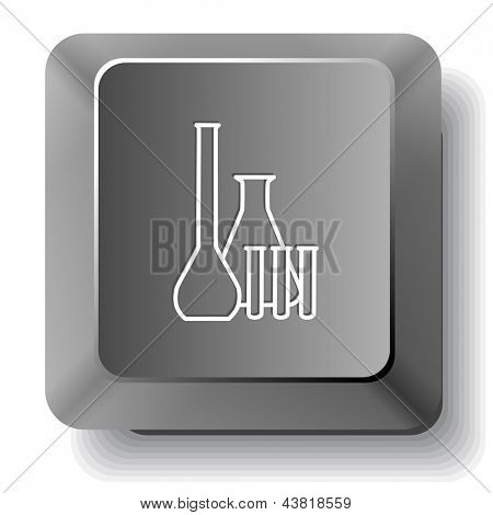 Chemical test tubes. Vector computer key.